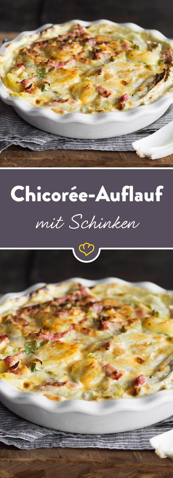 Von wegen zu bitter! Gewusst wie schmeckt Chicorée richtig gut und verleiht diesem würzigen Auflauf mit Kochschinken das gewisse Etwas.