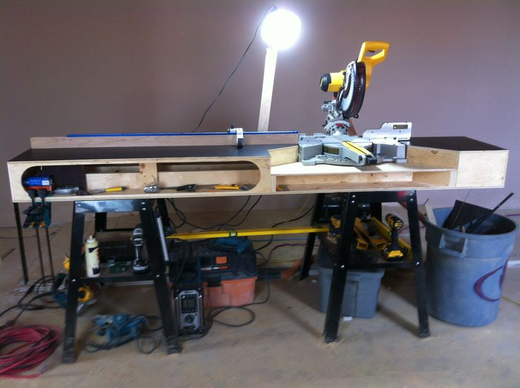 how to build a miter saw into a workbench