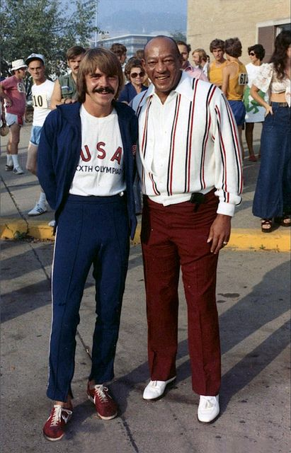 Jesse Owens and Steve Prefontaine September 1, 1973, Charleston, West Virginia, Ohio State University Archives, Jesse Owens Photograph Colle...