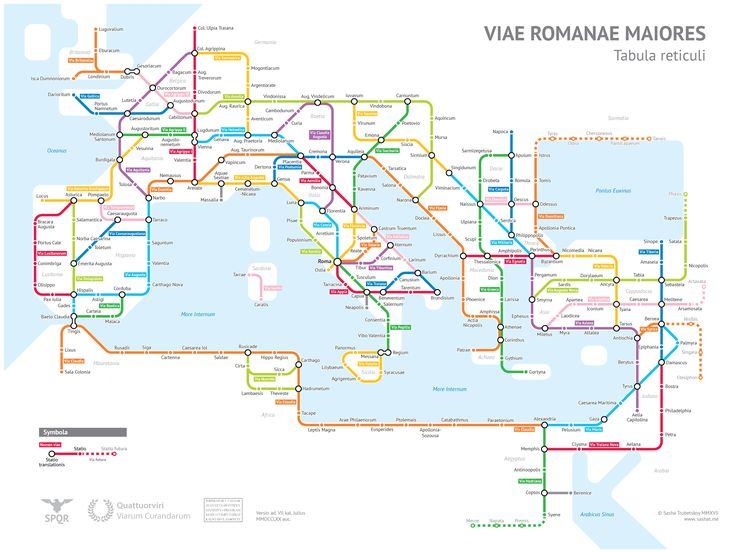 The Roman Roads visualised in the form of a modern urban transit map!