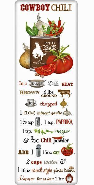 Cowboy Cookout Chili Recipe 100% Cotton Flour Sack Dish Towel Tea Towel