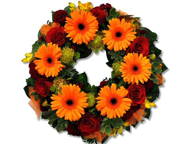 Bright mixed wreath - Donvale Flower Gallery