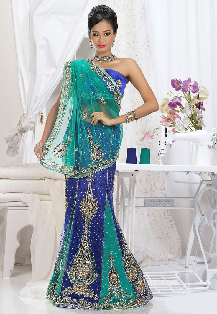Lehenga Style Net Saree in Royal Blue and Turquoise - Saree