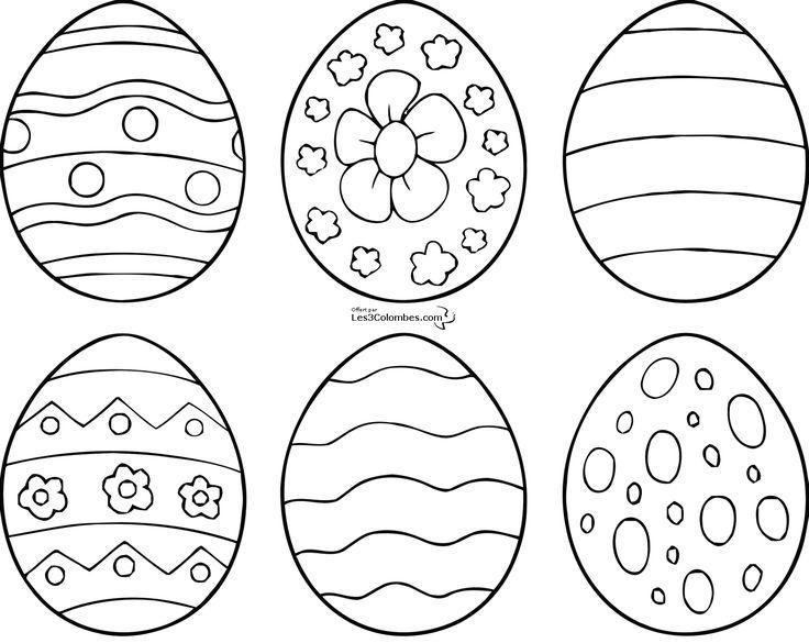 coloriages de 6 modele d Oeuf de paques a imprimer