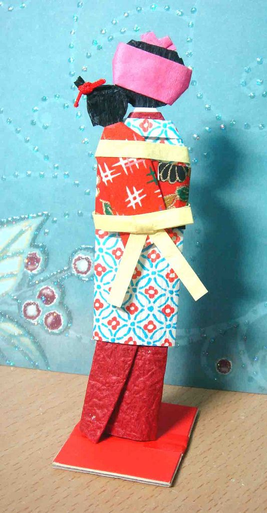 Hand-made Japanese paper doll - Nursemaid with baby (back)