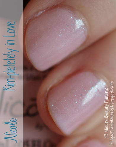 Nicole by OPI Kim-Pletely in Love Swatch, a light pink nail polish with sparkle  #NailPolish Swatch ~15MinuteBeauty.com