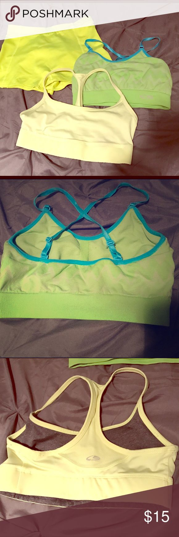 Two champion sports bras and yellow spandex shorts Shorts are size L in juniors (night yellow). Champion bras XS (light yellow and green/blue chevron cross back) Champion Intimates & Sleepwear Bras