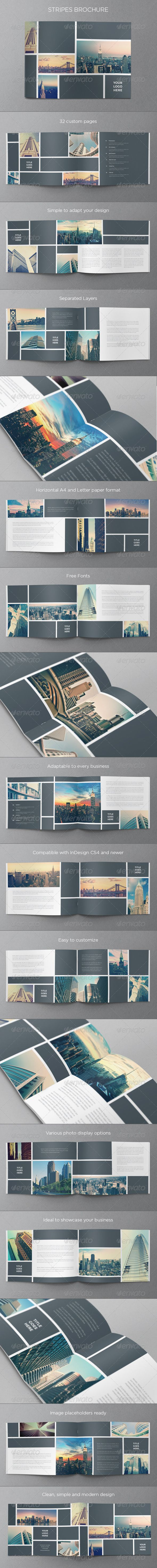 Real Estate Stripes Brochure  — InDesign Template • Only available here ➝…