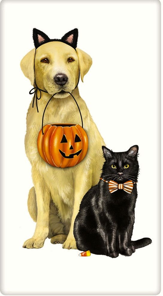Halloween Dog and Cat Mary Lake Thompson Dish Towels - Labs – For the Love Of Dogs - Shopping for a Cause