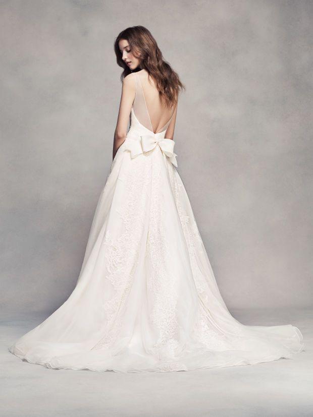 Back to Basics: How to Buy a Wedding Dress | White by Vera Wang Pleated V-Neck Wedding Dress.