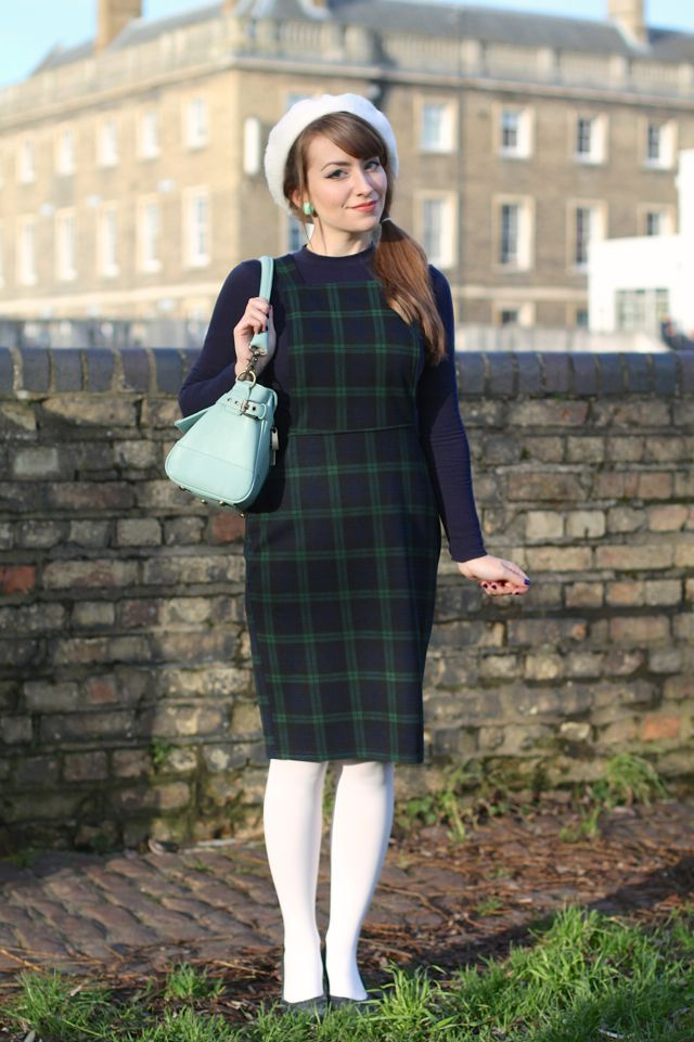 Mod look pinafore with white tights and beret