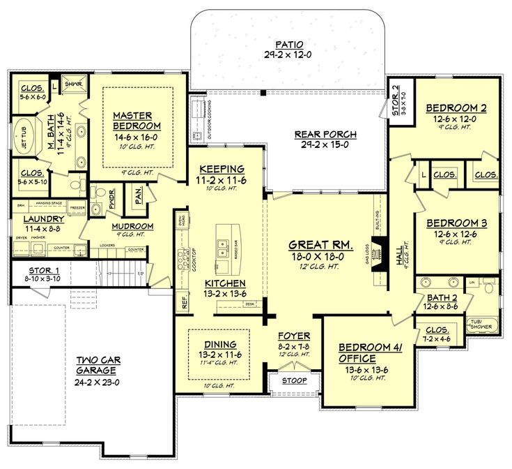 European Style House Plan 4 Beds Baths 2506 Sq Ft Plan Remove Dining And Move Kitchen Down Move Master Bath Below Master