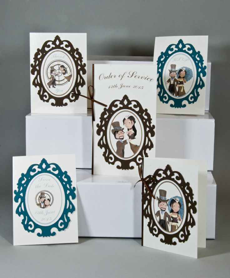 The Cameo Collection. With this collection we frame your characters with beautiful baroque frames adding a classical elegance in any colour that fits your wedding theme.