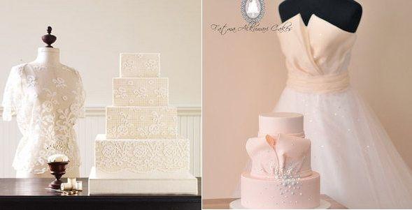 wedding dress inspired cakes via Martha Stewart Wedding left and by Fatma Alkuwari right