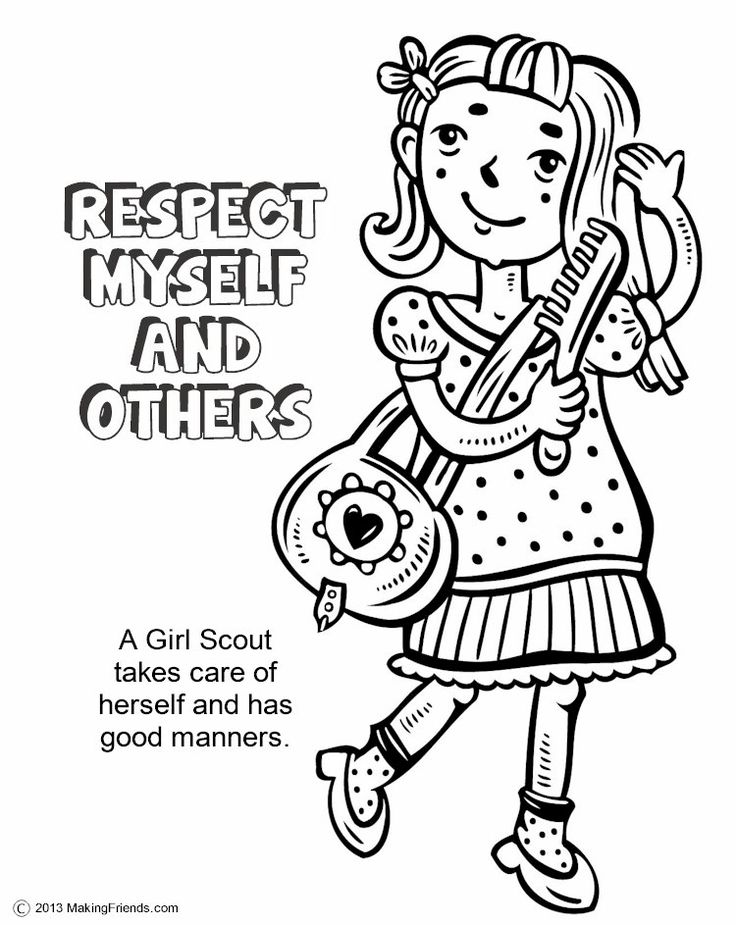 Girl Scouts Respect Myself and Others. Print all the pages to make a coloring book to help learn the Girl Scout Law. Go onto MakingFriends.com to print them all!