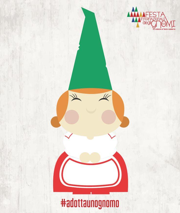 Gnoma Pepita | Una dolcissima signora dalle guance paffute e le mani tonde come panini, porta con sé l'odore delle sue buonissime torte e del sapone che produce in casa. E' la moglie del capo gnomo, è una mamma dolcissima, sempre premurosa con tutti, sferruzza maglioncini e sciarpe ma quando c'è bisogno di essere coraggiosi lei non si tira indietro!  #gnome #festadeglignomi #bambini #gnomi #fantasy #design #abruzzo #teatro