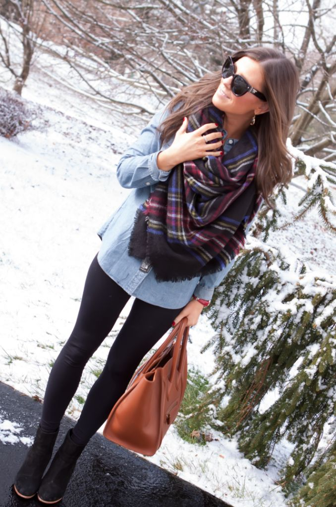 Pair an oversized scarf with a chambray shirt and leggings or black denim. Don't forget the boots!