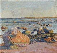 Beach scene by Johannes Larsen