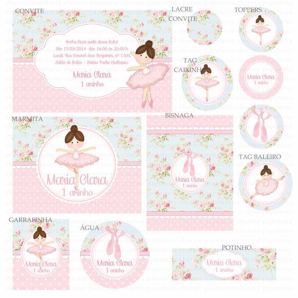 Kit digital Bailarina Azul e Rosa Provençal