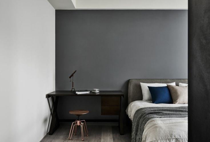 bett schreibtisch hocker schlafzimmer wandgestaltung - schreibtisch im schlafzimmer