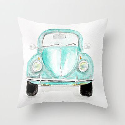 VW Beetle - Watercolor Throw Pillow by craftberrybush - $20.00