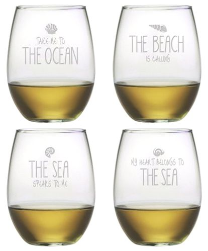 A Set of cool ocean beach quote glasses on sale! http://ocean-beach-quotes.blogspot.com/2014/12/ocean-beach-quotes-glasses.html