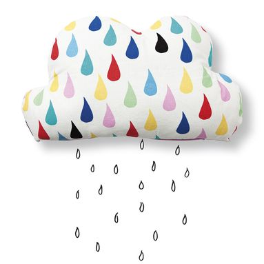 raindrop pillow with all the colours of a rainbow cotton pillow that looks as changeable as a springtime cloud comes in three colours
