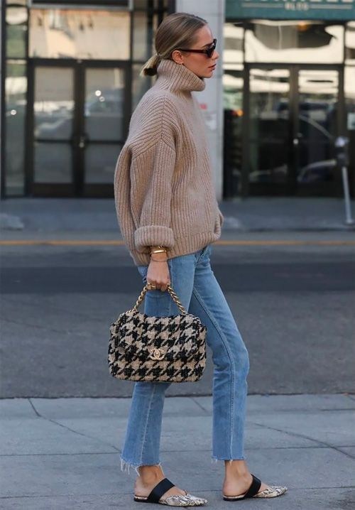 Magdalena Frackowiak Fuzzy Textured Knit Givenchy Bag Black Skirt Loafers