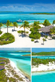 Fowl Cay Resort in Exumas, Bahamas - Rent one of six villas on this small private island, swim with pigs (yes, the pigs can swim!), snorkel in caves, take out your own private boat, all meals included!