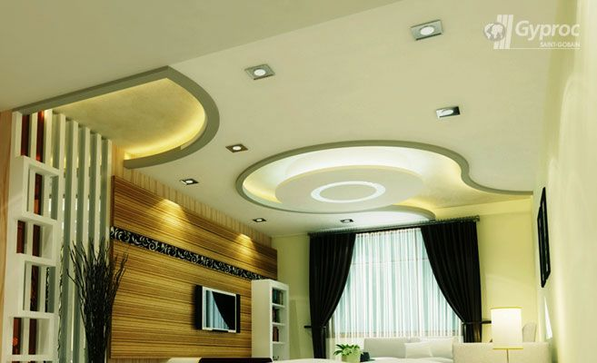 False ceiling designs for living room saint gobain for Pop designs for bedroom in india