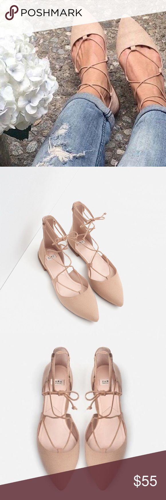 Pointed lace up ballerina flats Worn once. Pointed beige/tan flats with lace up straps and ankle bow fastening. Zara Shoes Flats & Loafers