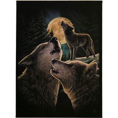"Wolf Song Canvas Wall Plaque by Lisa Parker 10"" x 7"""