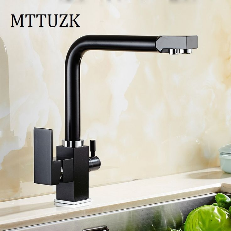 61.55$  Buy here - http://ai27g.worlditems.win/all/product.php?id=32800292174 - MTTUZK Square ORB water filter 3way kitchen faucet pure water kitchen faucet 3 way function Kitchen mixer water filter mixer tap