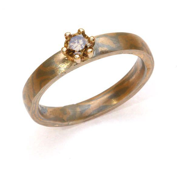Verlobungsring Mokumegane In Rotgold Und Palladium Mit Einem