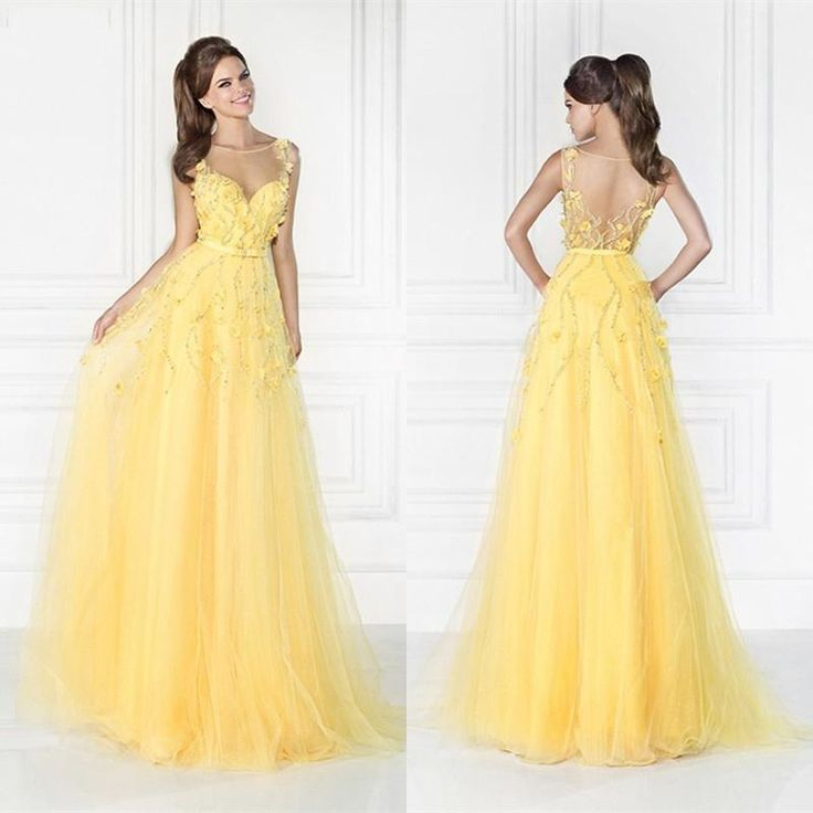 Beautiful Long Prom Dresses Beads Appliques Jewel Floor Length See Through Back Evening Gowns Sheer Neck Crystal Party Dress