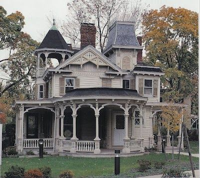 I love gothic victorian architecture. The round front porch is a pleasing shape.