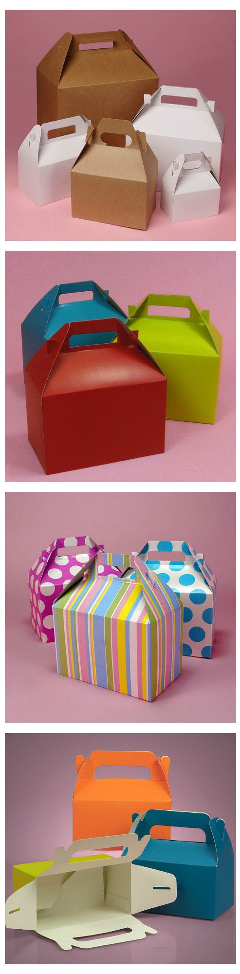 Gable gift boxes are great to use for party favors and presents because they have handles, which make them easy to carry. These gift boxes look a lot like happy meal boxes too! #gableboxes