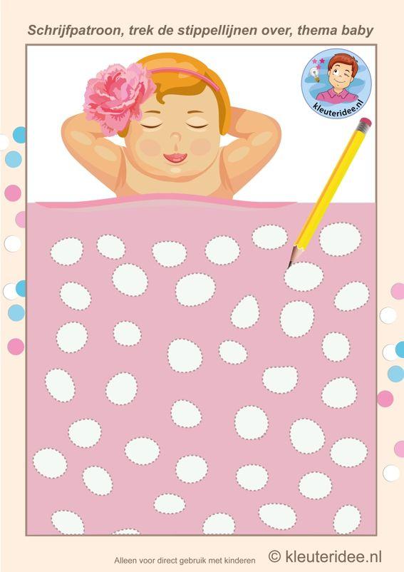 Schrijfpatroon meisje, thema baby,Kindergarten writing pattern , baby theme, free printable.