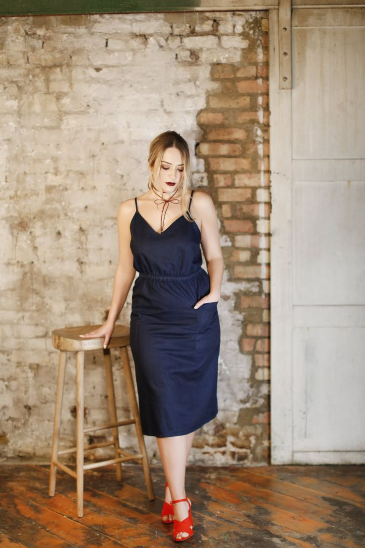 Blogger Lucia Grace in our Denim Midi Dress. PERFECT Spring style!