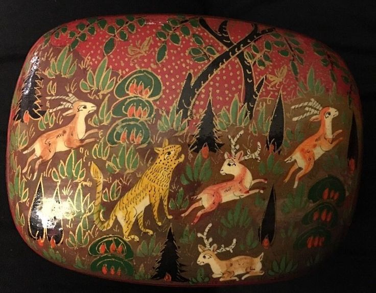 Vtg Hand Made Painted Decoupage Animal Scene Trinket Jewelry Laquer Box Kashmir | eBay