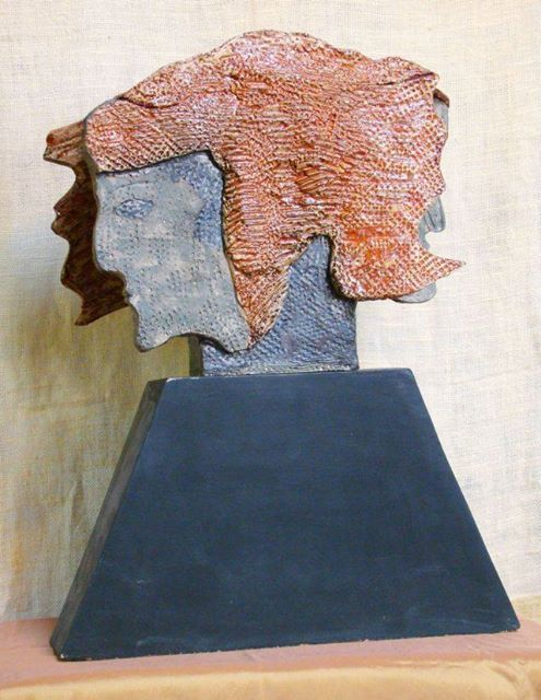 Wiesław#Fijałkowski#RUDOWŁOSY#rzeźb#glina#szamptowa#szkliwiona#62x48x12cm