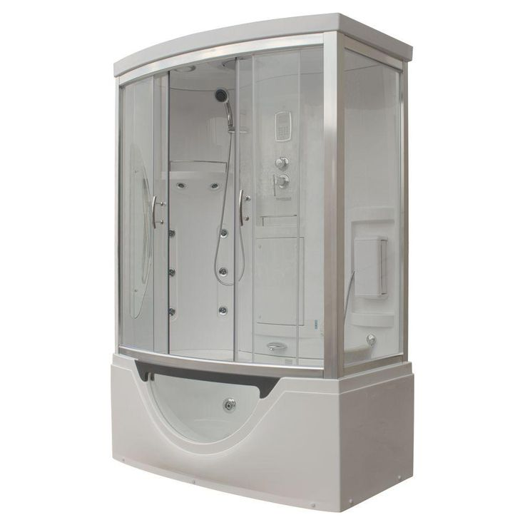 Steam Planet Hudson 59 in. x 33 in. x 88 in. Steam Shower Enclosure Kit with Whirlpool Tub in White-MK557LW - The Home Depot