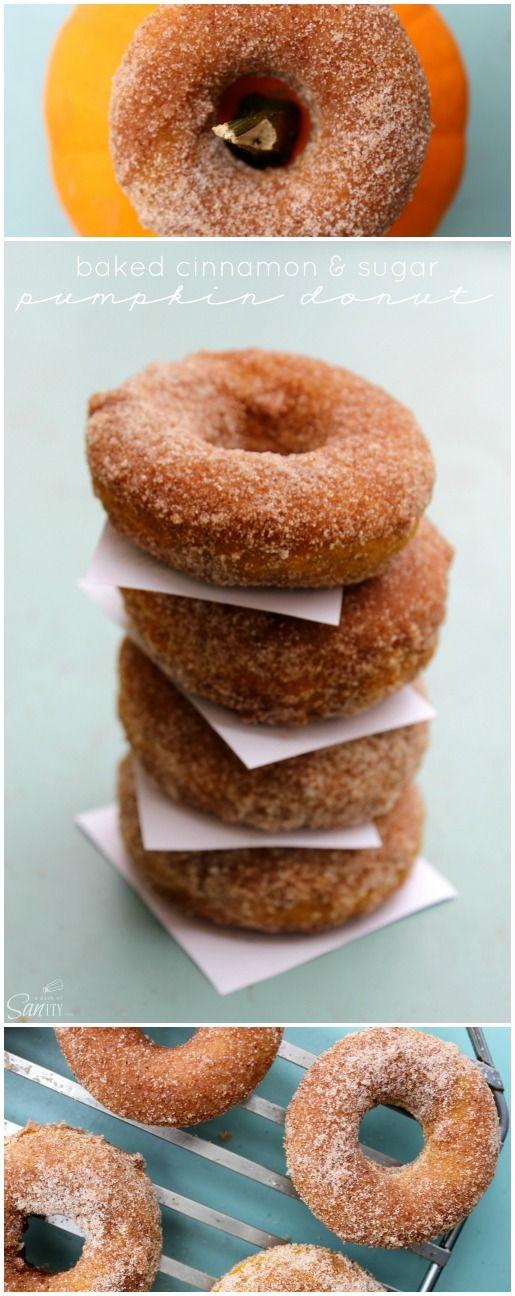 Baked Cinnamon & Sugar Pumpkin Donuts
