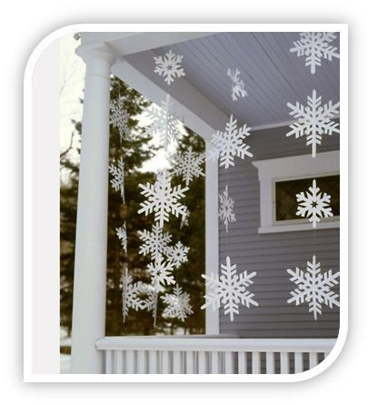 Homemade Outdoor Snowflakes! Here is a Homemade Christmas decoration idea that will allow you to have snow regardless of what the weather looks like!