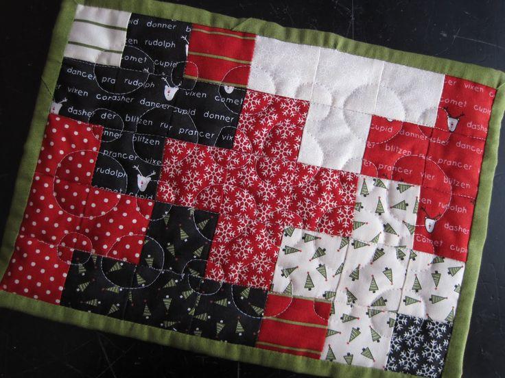Holiday mug rug (small quilt for your coffee mug)