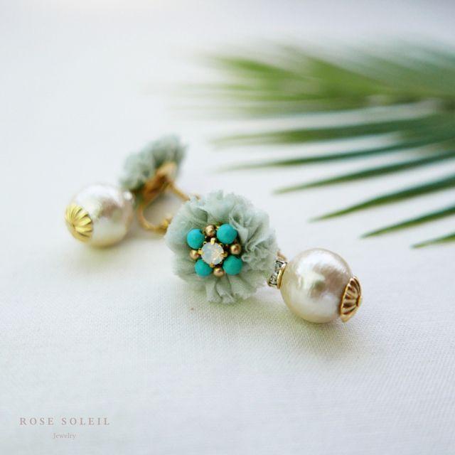 Rose Soleil Jewelry Tropical Sky Collection | ローズソレイユジュエリー ✧  コットンシルクイヤリング ✧ トロピカルスカイコレクション