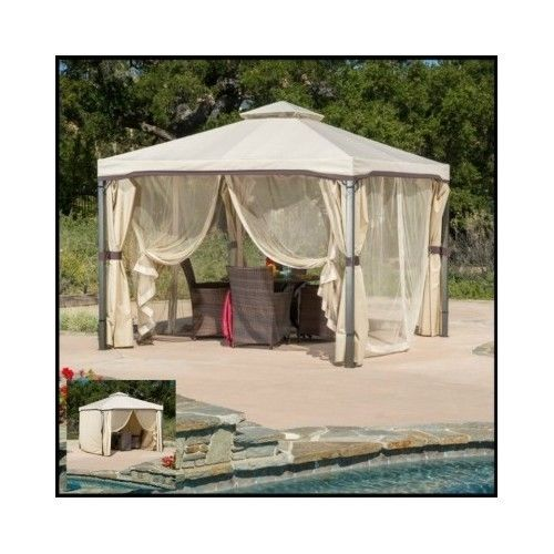 Outdoor-Patio-Gazebo-Backyard-10x10-Canopy-Shade-Netting-Tent-Screened-Curtain