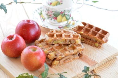 Gaufres aux pommes sans gluten ni oeuf ni lait ni sucre ni levure