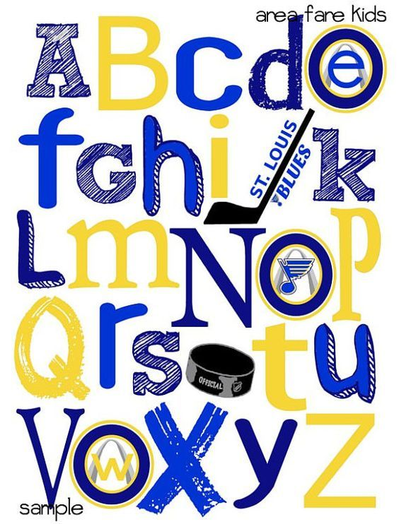 ST. LOUIS BLUES abc nursery art print by AreaFareKids on Etsy