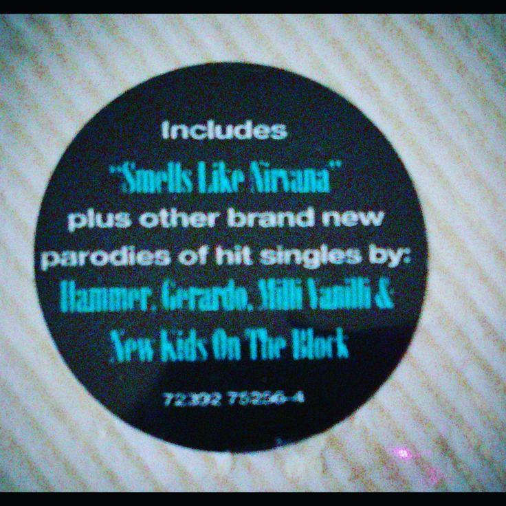 This was the sticker on the cassette I bought for the Weird AL album 'Off The Deep End' #WeirdAl #Nirvana #SmellsLikeNirvana